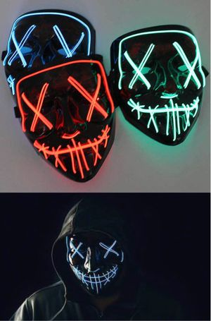 New halloween costume mask cosplay rave party LED glow scary mask costume party orange pink green or white purge movie dance club 2 AA Battery Requir for Sale in San Dimas, CA