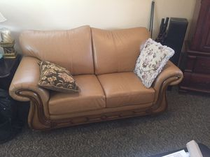 Love seat and couch! Leather with wood framing. Great condition. Never used (in fact there is a little dust on them). for Sale in Carmichael, CA