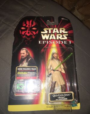Qui-Gon Jinn action figure Star Wars Episode 1 with Comm Tech chip collection 1 1998 for Sale in Oakley, CA
