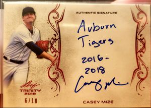 Casey Mize trinity autographed Inscription card for Sale in Cicero, IL