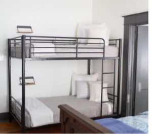 New!! Bed, twin bed, twin bunk bed, twin over twin bunk bed, metal bunk twin bed, bedroom furniture , black for Sale in Phoenix, AZ