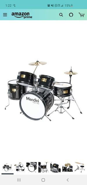 Mendini by Cecilio 16 inch 5-Piece Complete Kids/Junior Drum Set with Adjustable Throne, Cymbal, Pedal & Drumsticks, Metallic Black, MJDS-5-BK for Sale in Painesville, OH