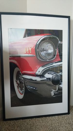 Vintage car poster in a hanging for Sale in Laurel, MD