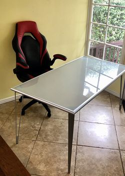 Metal and frosted glass Kitchen table or office desk Red and black leather chair with wheels for Sale in Los Angeles,  CA