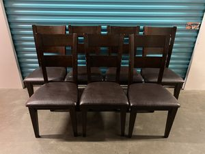 Set Of 7 Beautiful Hardwood Cushioned Chairs for Sale in Carlsbad, CA