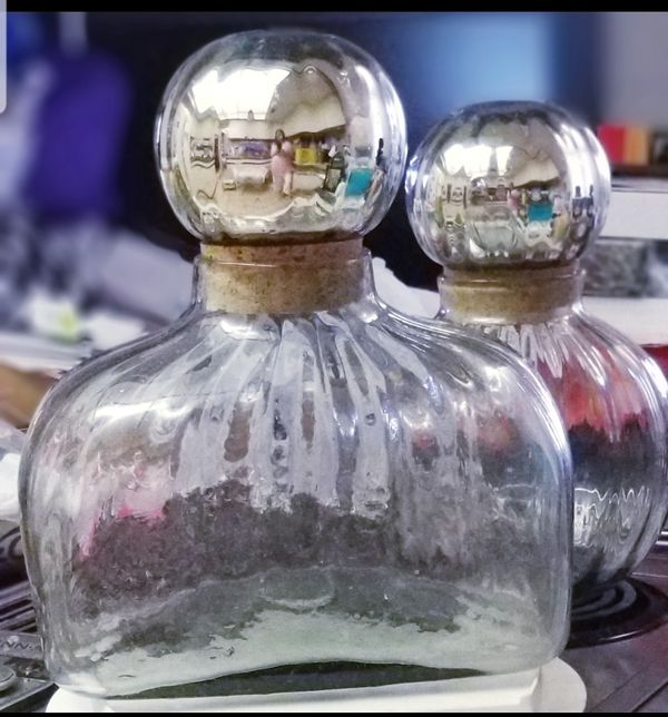 2 Glass Corked Decorative Containers
