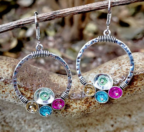 Vintage Antique Silver Color Bohemian Drop Hoop Earrings