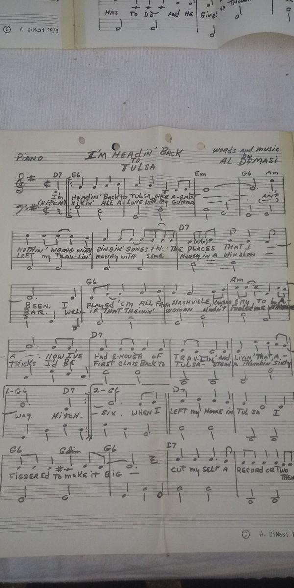 Original Al Di Masi written sheet music