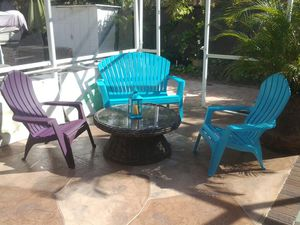 Outdoor furniture set 2 chairs 1 bench chair wicker glass top coffee table seaside blue for Sale in Pompano Beach, FL