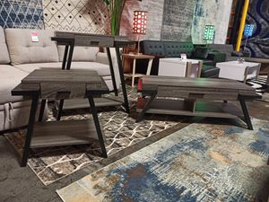 3 PC Console, End and Coffee Table Set, Distressed Grey for Sale in Norwalk, CA