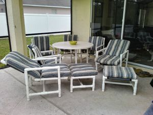 9 piece pipe patio furniture with cushions for Sale in Kissimmee, FL