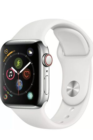 Apple Watch Series 4 (GPS + Cellular) 40mm Stainless Steel Case White Sport Band for Sale in Riverview, FL
