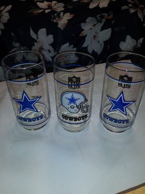 3x Dallas Cowboys Collectible Glass Cups for Sale in Mansfield, TX