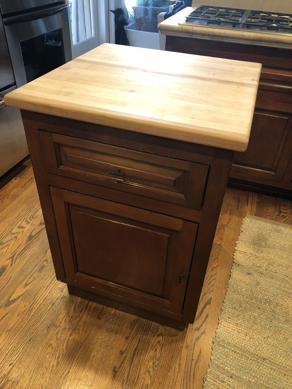 Movable Kitchen Island with Butcher Block