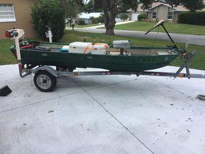 12' Jon boat, motor and trailer for Sale in Eustis, FL