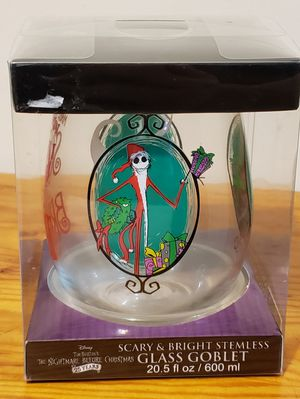 "The Nightmare Before Christmas Stemless Glass Goblet ""Scary & Bright"" 20.5 oz, 25th Anniversary for Sale in Wareham, MA"