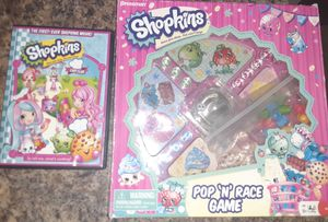 Shopkins dvd and pop n race game for Sale in St. Louis, MO
