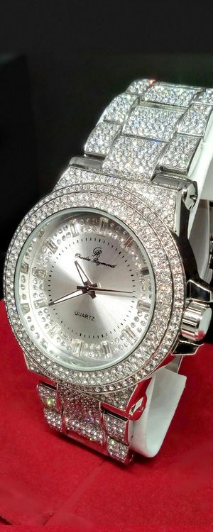 Men's Iced Out Large Case Charles Raymond Stainless Steel Watch New in Box for Sale in Boca Raton, FL