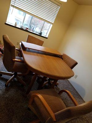 Dining Room Table with Leaf and Four Chairs for Sale in Federal Way, WA