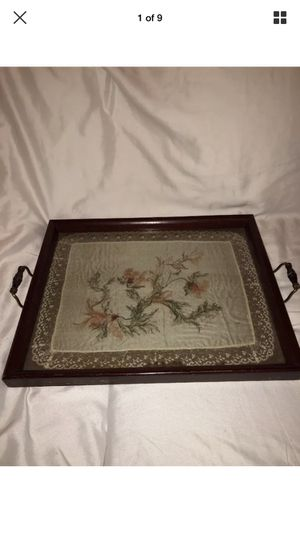 Antique/Vintage Souvenir of France Silk Lace In Wooden Glass Top Serving Tray for Sale in Atlanta, GA