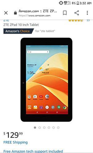 """ZTE ZPAD 10"""" Tablet for Sale in Westfield, ME"""
