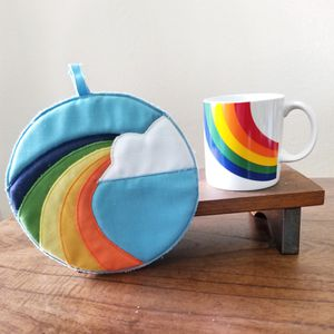 Vintage rainbow potholder and mug set for Sale in Chandler, AZ