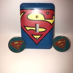 Superman light switch plate cover and 2 metal drawer pulls/knobs for Sale in Saint Albans, WV