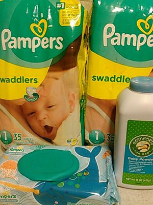 Size 1 Diapers (2) 35 Count Bags + Wipes + Baby Powder for Sale in Las Vegas, NV