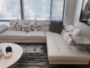 White Leather Contemporary Sectional *BRAND NEW* for Sale in Columbia, MD