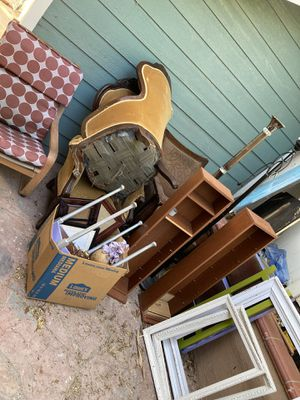 FREE FREE FREE MUST TAKE ALL!!!! Unless prearranged tables, shelves, sofa chairs 2 antique chairs for Sale in Riverside, CA