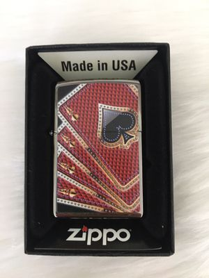 Zippo Card Suits four 4 Aces Red / Gold on Black Ice Windproof Lighter NEW RARE for Sale in Glendale, CA