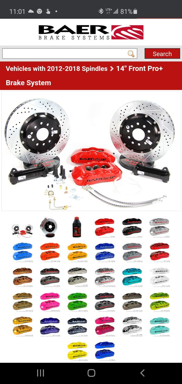 "Baer 14""front pro big brake kit (6 piston calipers and 2 piece huge rotors) for 2012-2020 Chrysler 300 . Brand new!"