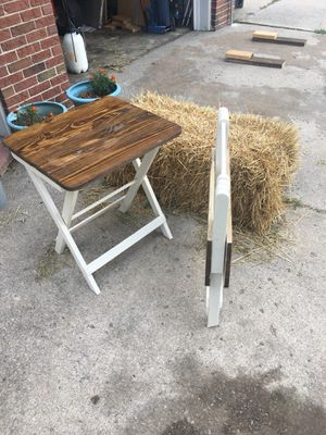 "Folding tables. Perfect for camping,picnics, or store away in the RV or camper. Use them indoors or outdoors,22x28x3"" folded for easy storage. 22x20x for Sale in Saint Charles, MO"