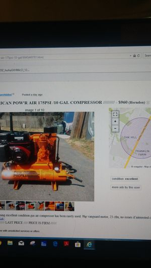 American Pow'r Air Compressor for Sale in Herndon, VA