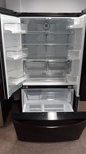 Black stainless steel French doors refrigerator excellent condition for Sale in Laurel, MD