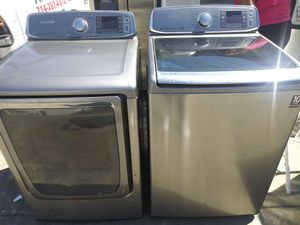 Samsung Top Load Black Stainless Steel Washer&Dryer Set for Sale in Chino Hills, CA