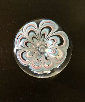 Vintage Large Art Glass Paperweight, Blue Pink Flower 3 1/2 for Sale in Brooklyn, NY