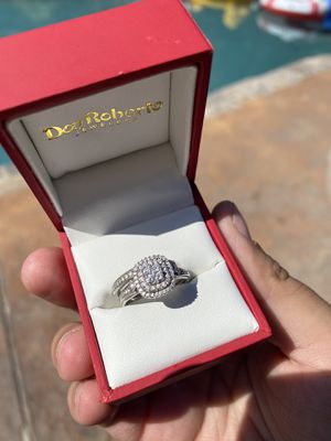 10k White Gold Size 7 Wedding Ring + Band for Sale in Modesto, CA