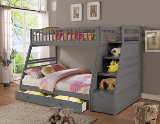 GRAY FINISH TWIN OVER FULL SIZE BUNK BED FRAME STAIRCASE CHEST - CAMA LITERA MATRIMONIAL for Sale in Downey,  CA