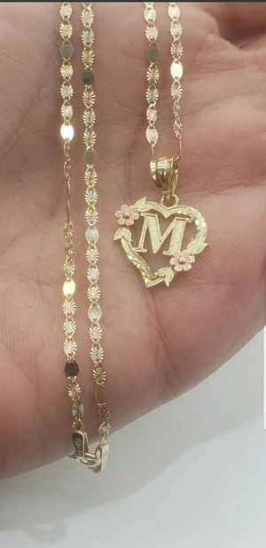 """10k Yellow, white and Rose gold 18"""" chain and M initial letter heart charm for Sale in Los Angeles, CA"""