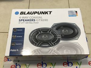 """SALE OR TRADE. Brand New Blaupunkt 600 Watts 6"""" x 9"""" 4-Way 4-Ohm Max Power Coaxial Speakers. INSTALLATION AVAILABLE BUT NOT INCLUDED ON THE PRICE. for Sale in Miami, FL"""