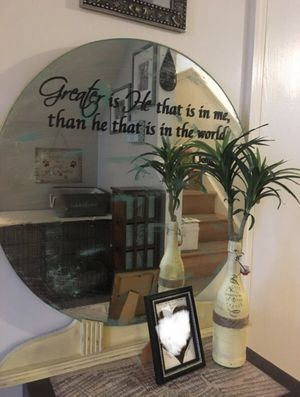Mirror (antiqued) with scripture decal for Sale in NO POTOMAC, MD