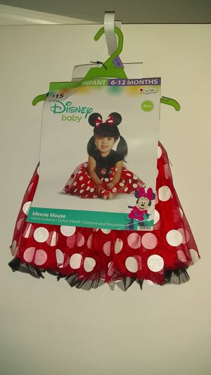 New Baby Infant Girl Minnie Mouse Costume Size: 6 months to 12 months - Excellent 1st Birthday Party Outfit / Dress - Minnie Ears for Sale in Smithville, TN