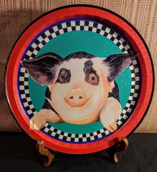 Vintage Potpourri Designs Potbelly Pig Serving Tray