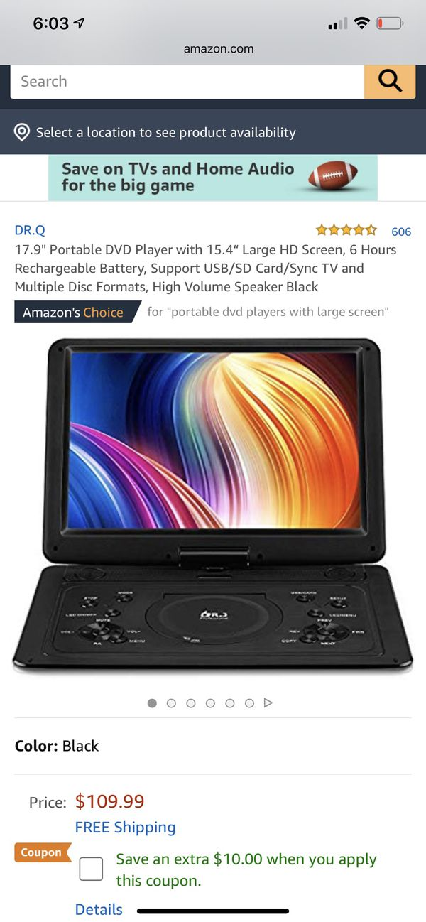 Portable dvd player 16 inch screen lcd car display 6 hr battery