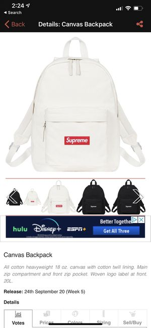 Supreme canvas backpack DS for Sale in San Francisco, CA
