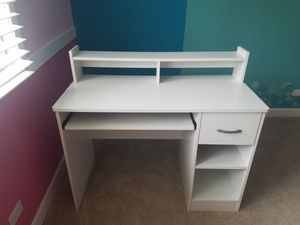White Computer School Desk with a Drawer and pull out trail for Sale in Wheeling, IL