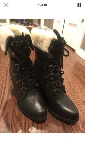 Sorel After Hours Lace Shearling Wedge Boot Black Size 8 Waterproof NEW! for Sale in Renton, WA