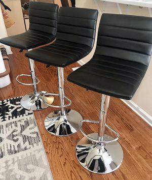 Black Silver 3 Bar Stool Set (for Total $90) near Princeton NJ for Sale in Trenton, NJ