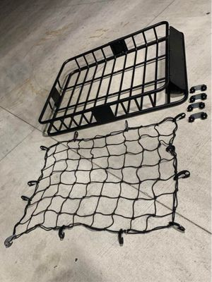 New in box 250 lbs capacity 47x40x7 inches roof basket travel cargo carrier storage rack for suv car 4 mounting brackets and cargo net netting includ for Sale in Covina, CA